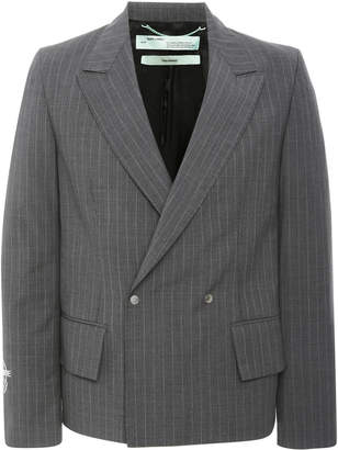 Off-White Double-Breasted Pinstripe Wool-Crepe Blazer