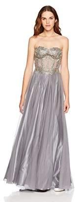 Blondie Nites Junior's Long Strapless Applique Ballgown