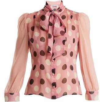 EDELTRUD HOFMANN Pussy-bow polka-dot silk blouse