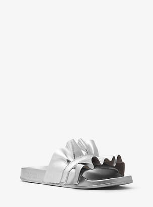 Michael Kors Bella Ruffled Metallic Leather Slide