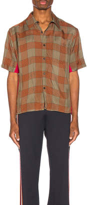 Wales Bonner Pocket Shirt in Khaki & Fuchsia | FWRD