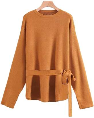 Goodnight Macaroon 'Jovan' Crewneck Belted Sweater ( 3 Colors Available )