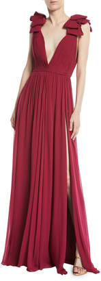 Elie Saab Deep V-Neck Silk Crepe Georgette Evening Gown with Front Slit