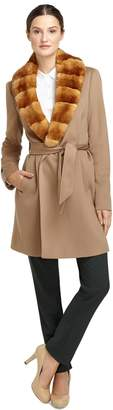 Brooks Brothers Wool Wrap Coat with Rabbit Fur