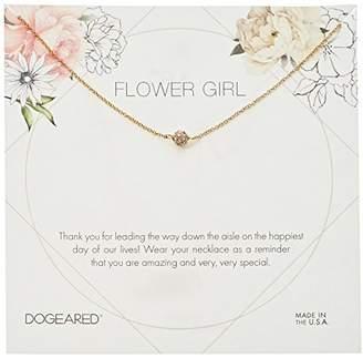 Dogeared Flower Girl Flower Card Pave Sparkle Ball Chain Neckalce