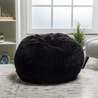 Noble House Manuel Fabric Bean Bag with Polyurethane Foam Filling,Black