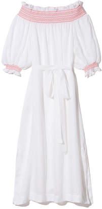 Lisa Marie Fernandez Smocked Sheer Off-Shoulder Dress