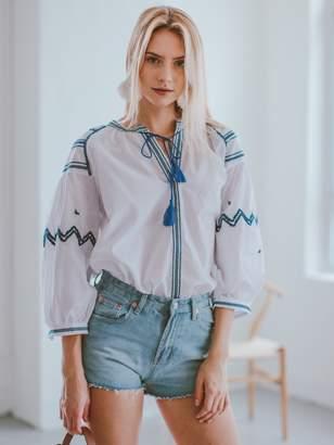 Goodnight Macaroon 'Carley' Embroidered Tied Tassel Boho Top