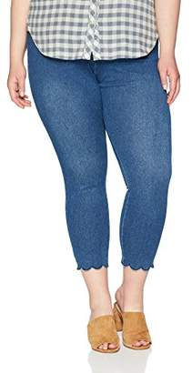 Lysse Women's Plus Size Scallop Edge Denim Ankle Legging