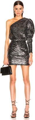 Alexandre Vauthier Zebra Embroidered Mini Dress in Silver | FWRD