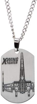 """Michael Kors Star Wars Jewelry Episode 7 X-Wing Fighter Laser Etched Dog Tag Pendant Necklace, 22"""""""