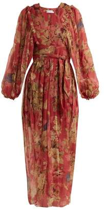 Zimmermann Melody Wrap Floral Print Silk Dress - Womens - Burgundy