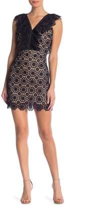 J.o.a. Ruffled Neck Lace Dress
