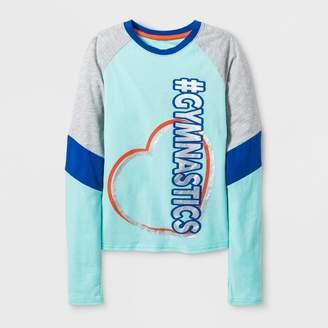 Bioworld Girls' Long Sleeve Dance Activewear T-Shirt - Turquoise