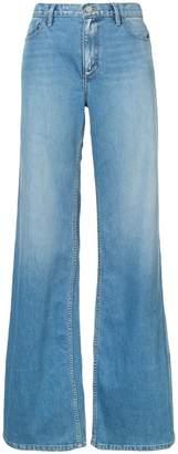 Oscar de la Renta wide leg washed effect jeans