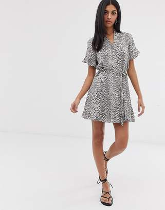 AllSaints fay leopard button down mini dress