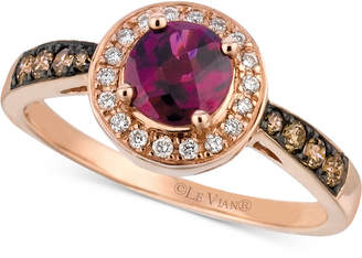 LeVian Le Vian Raspberry Rhodolite® (3/4 ct. t.w.) & Diamond (1/4 ct. t.w.) Ring in 14k Rose Gold