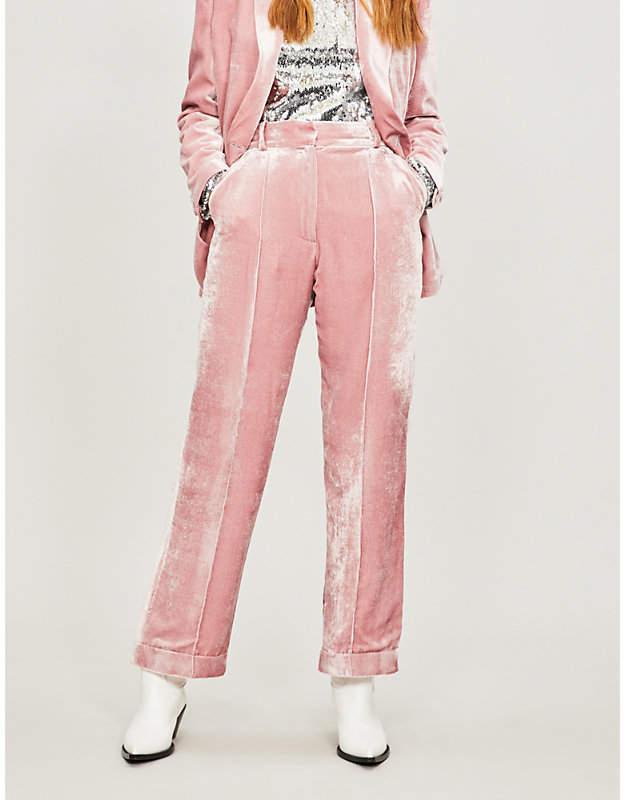 Racil Charlie high-rise wide velvet trousers