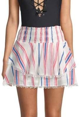 Red Carter Vega Striped Cotton Mini Skirt