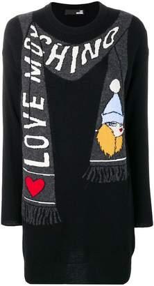Love Moschino trompe l'oeil scarf sweater