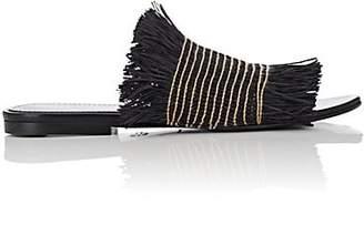 Proenza Schouler Women's Fringed Raffia Slide Sandals - Black