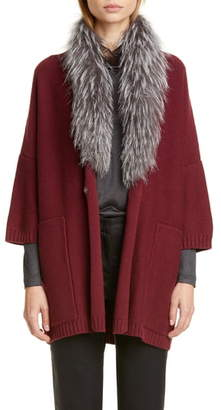 Fabiana Filippi Genuine Fox Fur Collar Wool, Silk & Cashmere Cardigan
