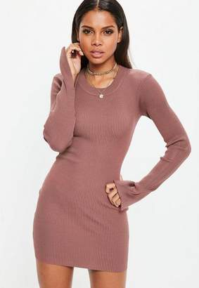 Missguided Mocha Long Sleeve Rib Sweater Dress