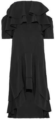Walter W118 By Baker Patti Off-The-Shoulder Ruffled Crepe De Chine Midi Dress