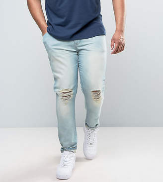 Asos DESIGN PLUS Super Skinny Jeans With Knee Abrasions In Bleach Blue