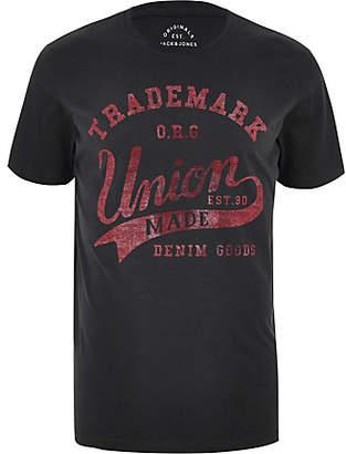 River Island Jack and Jones dark grey 'union' T-shirt