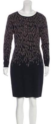 Carmen Marc Valvo Printed Knee-Length Dress Black Printed Knee-Length Dress