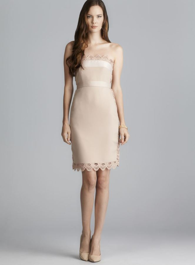 philosophy Pink Strapless Lace Dress