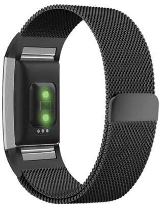 Fitbit Moretek Milanese Loop Stainless Steel Metal Bracelet Strap with Unique Magnet Lock, No Buckle Needed for Charge 2 HR Fitness Tracker