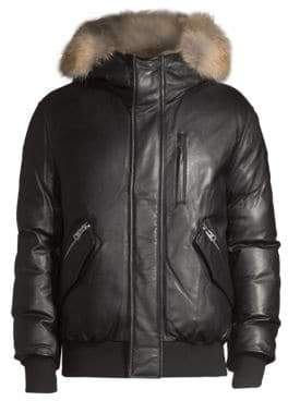Mackage Men's Gable Leather Rabbit-Fur Trimmed Coat - Black - Size 40
