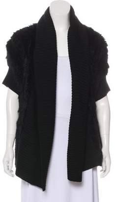 Haute Hippie Wool-Trim Fur Vest