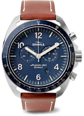 Shinola The Rambler Tachymeter Chronograph 44mm Stainless Steel and Leather Watch - Men - Blue