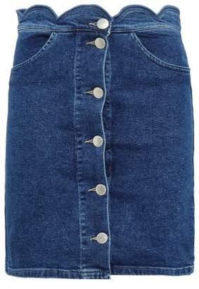 Maje Jaron Scalloped Denim Mini Skirt