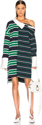 Monse Striped Shifted Rugby Dress in Navy, Green & Ivory | FWRD