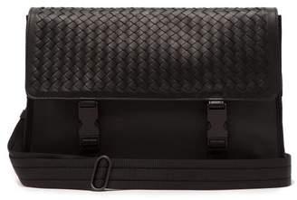Bottega Veneta Intrecciato Leather And Canvas Messenger Bag - Mens - Black  Grey 33d5cc08cd1d3
