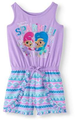 SHIMMER AND SHINE Shimmer And Shine Toddler Girl Sleeveless Tank Shorts Romper