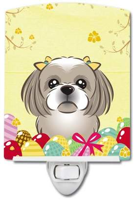 Shih Caroline's Treasures Gray Silver Tzu Easter Egg Hunt Ceramic Night Light