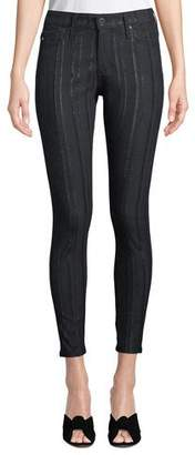 AG Jeans Farrah High-Rise Skinny Ankle Jeans with Metallic Stripes