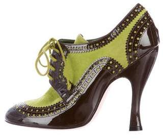 Christian Lacroix Suede Brogue Booties