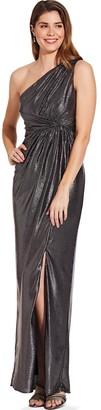 Adrianna Papell Gunmetal Metallic Jersey Dress