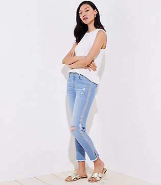LOFT Petite Modern Diamond Side Stripe Destructed Skinny Crop Jeans