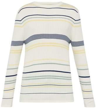 King & Tuckfield - Ribbed Knit Striped Wool Sweater - Mens - Cream Multi
