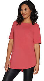 Joan Rivers Classics Collection Joan Rivers Jersey Knit Long Tee Shirt withShirt Tail Hem