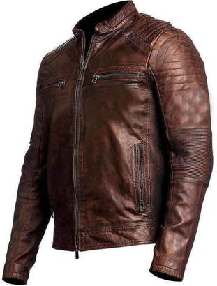 9b5e5c6649c The Custom Jacket Cafe Racer Leather Jacket Men s Retro Black Biker Vintage  Distressed Outfit (XXXL