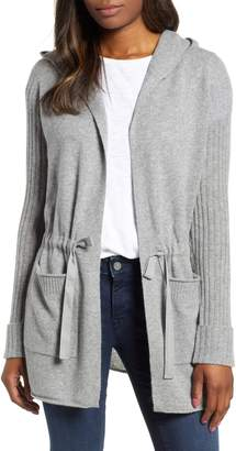 Caslon Off Duty Cashmere Hooded Cardigan