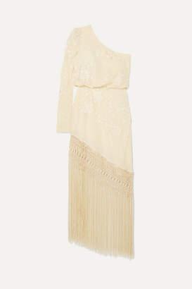 Johanna Ortiz Sevilana Tan Sonriente One-shoulder Embroidered Silk-satin Maxi Dress - Ecru